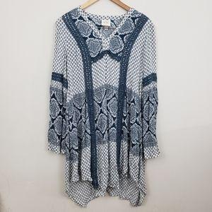Boho Peasent Long Sleeve Dress  Size Extra Small